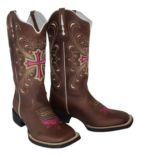 0f512d1a6 Bota Texana Feminina Bordado Cruz Hopper Couro Legitimo - R$ 298,90 em  Mercado Livre
