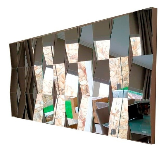 Painel Quadro Decorativo Grande Espelhado Para Sala 150x75cm Feito Com Espelhos Reais Da Melhor Qualidade