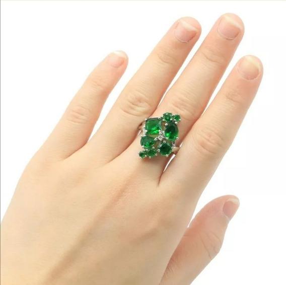Genial Anillo Piedras Esmeralda Verde Profundo Plata #7.75