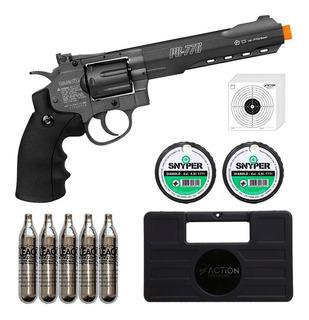 Revólver De Pressão Co2 Gamo Pr-776 Full Metal 6 Polegadas 8 Tiros 4.5mm + Maleta + 5 Co2 12g + 500 Chumbinhos