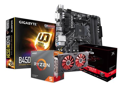 Kit Processador Amd Ryzen 5 3600 Gigabyte B450m-ds3h Rx570