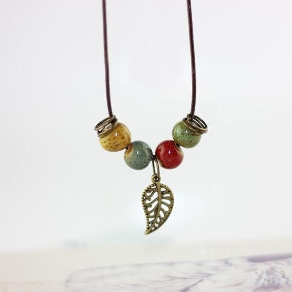 Colar Pingente Pedras Coloridas Cordão Metal Moda Fashion