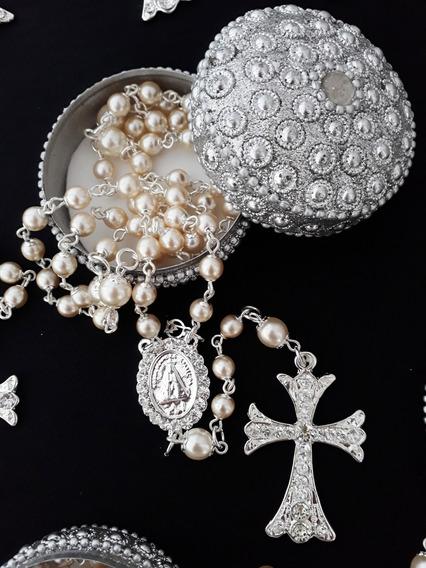 Terço De Noiva, Tamanho Tradicional, Prata Com Cristal