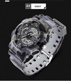 Relojes Sanda Camuflado Analogo/digital Crono Luz Fech Japan