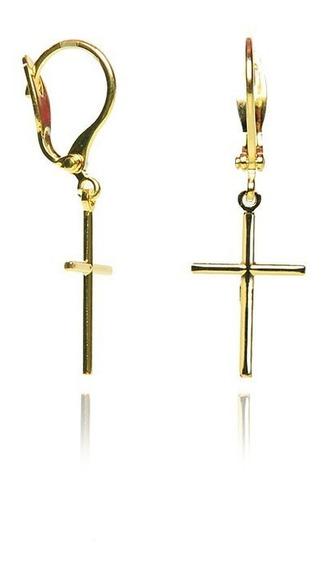 Argolinha Com Cruz Folheada Ouro 18k Antialergico