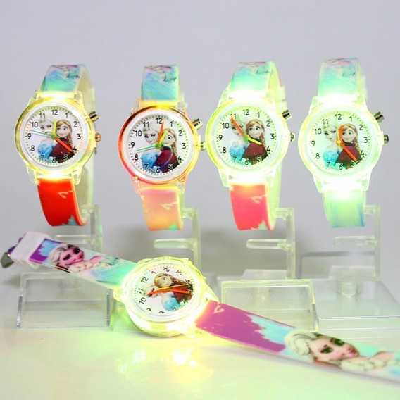 Relógio Infantil Elsa Frozen Disney Luzes