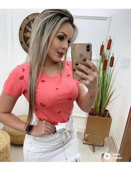 Blusa T-shirt Feminina Baby Look Estampas Coração Importado