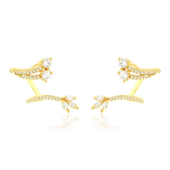 Brinco Ear Cuff Ramo Semijoia Ouro 18k Com Zircônia Branca