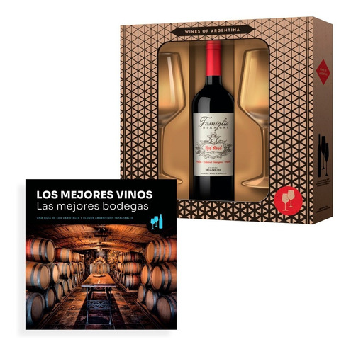 Imagen 1 de 2 de Clarin Set Vino Famiglia Bianchi Red Blend + 2 Copas