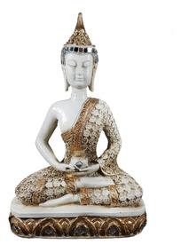 Buda Espelhado Decoração Hindu Estatua Chakras Branco