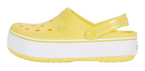 Crocs Crocband Plataforma Clog Sunshine/white Original 1106