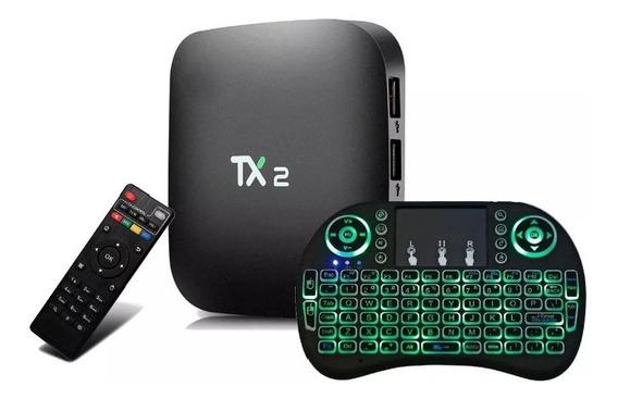 Conversor Smart Tv Tx2 C/ Bluetooth + Mini Teclado Com Led