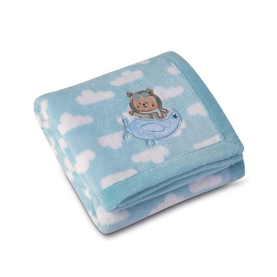 Manta Baby Fleece Estampada Com Bordado Lepper Azul