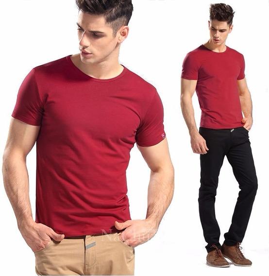 Lote Com 03 Camisas Slim Fit Camiseta Básica Lisa - Ref 107