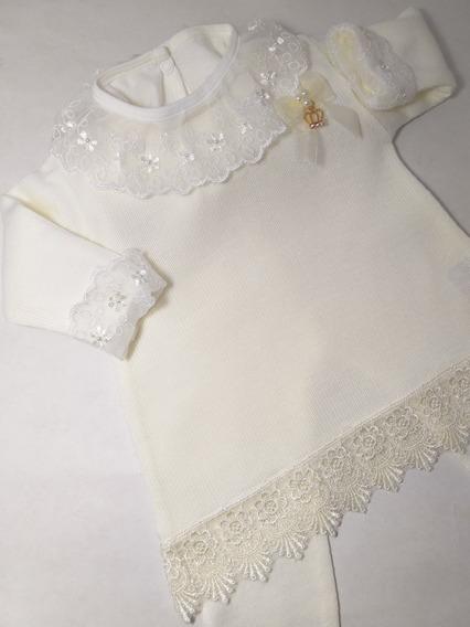 Kit Vestido Linha Trico Luxo Griper + Calça + Body Marfim