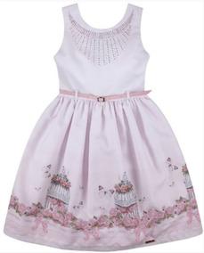 Vestido Festa Infantil Rosa Com Cinto N180