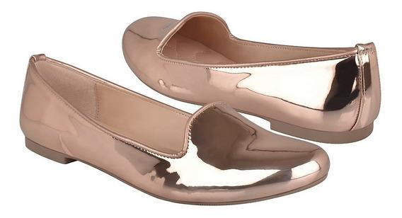 Flats Casuales Tropicana Para Mujer Charol Oro Rosado 47030