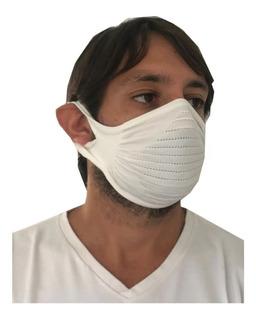 10 Tapa Boca Tejido Barbijo Mask Blanco Reutilizable Lavable