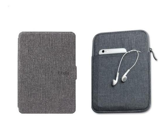 Capa Case Kindle Paperwhite 1/2/3 Cinza + Bolsa Escura + 4 Brindes