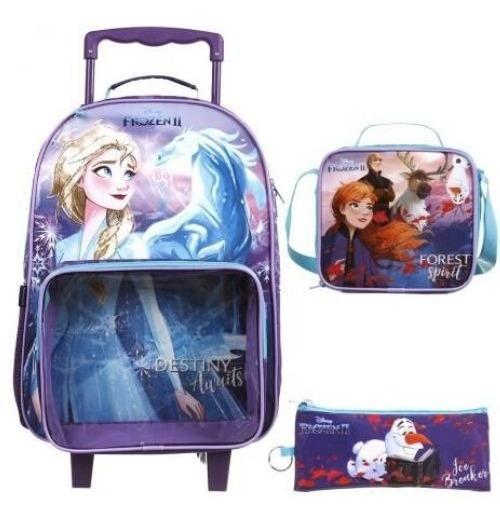 Mochila Escolar Disney Frozen 2 Lancheira Estojo Dermiwil
