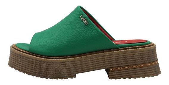 Zapatos Mujer Sandalias Cuero Verde Bajas Urbanas Leblu 865