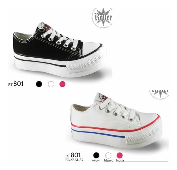Zapatillas Para Nena Con Plataforma! De Lona 27 Al 34.