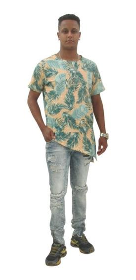 Camiseta Oversized Longline Bico Barra Lateral Blusa Mutante