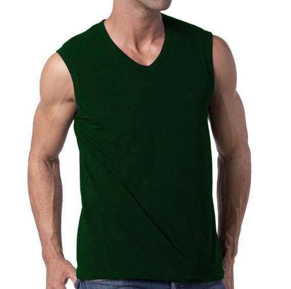 Camiseta Slim Fit Machão Regata Masculina Blusa Verde Escuro