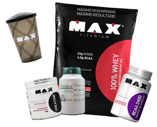 Dilatex, Whey 2kg, Bcaa 100 Caps, Creatina 100g, Copo Max Ti