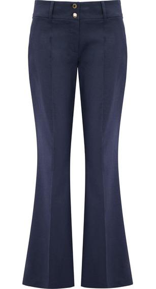 Calça Feminina Social Flare Linho Azul Seiki 650270