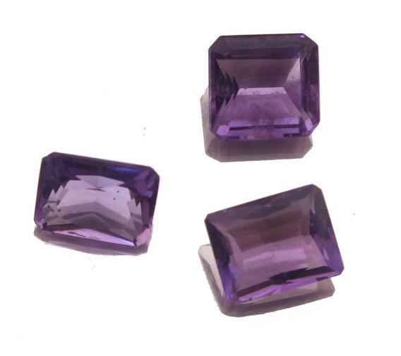 Trio Pedra Preciosa Natural Ametista Baguete Oferta J21538