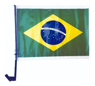 2 Bandeirinha De Carro Bandeira Do Brasil C/ Haste Plástico