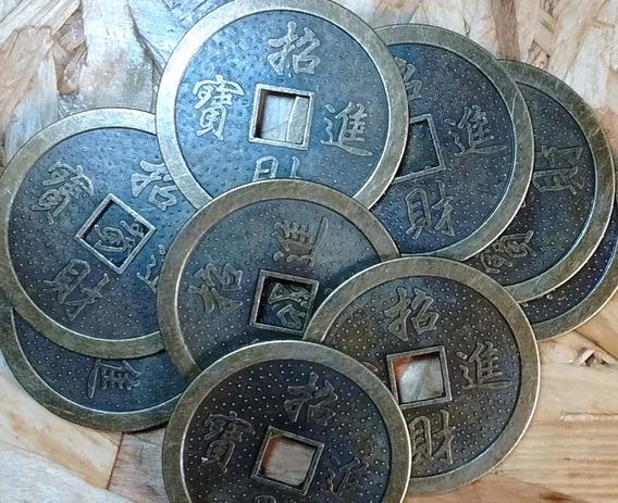 Lote 3 Monedas Chinas De La Suerte Bronce Grande 45 Mm Nueva