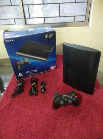 Play 3 Super Slim Na Caixa + Jogos + Controle
