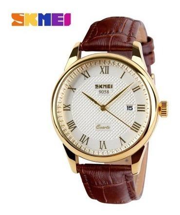 Relógio Masculino Skmei 9058 Dourado Couro Frete Grátis 12x