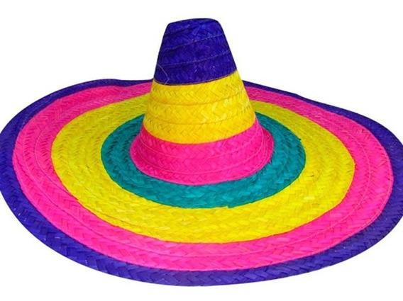 Gorro Mexicano Bandas Multicolor Cotillón Disfraz Halloween