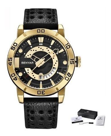 Relógio Benyar 5150m Luxo Original Dourado C/preto Masculino