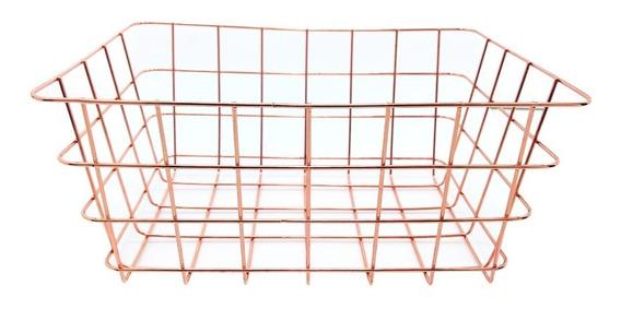Canasta Organizadora Canasto Contenedor Metal Deco Mediano