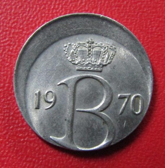 Bélgica Moneda 25 Centimes 1970 Unc Error Acuñacion