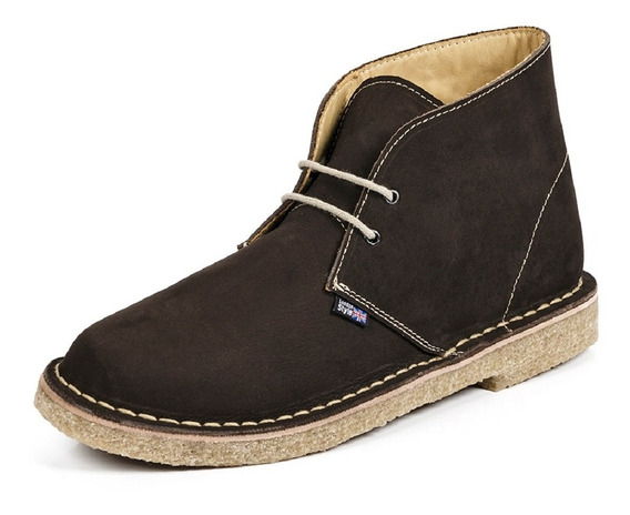 Desert Boot London Style Sola Crepe Couro E Forrada Em Couro