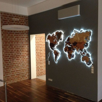 Cuadro Calado En Madera - Modelo Mundo Con Luces Leds