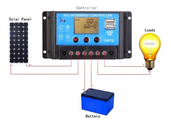 Controlador De Carga Solar Pwm 10a Lcd Com Amperímetro