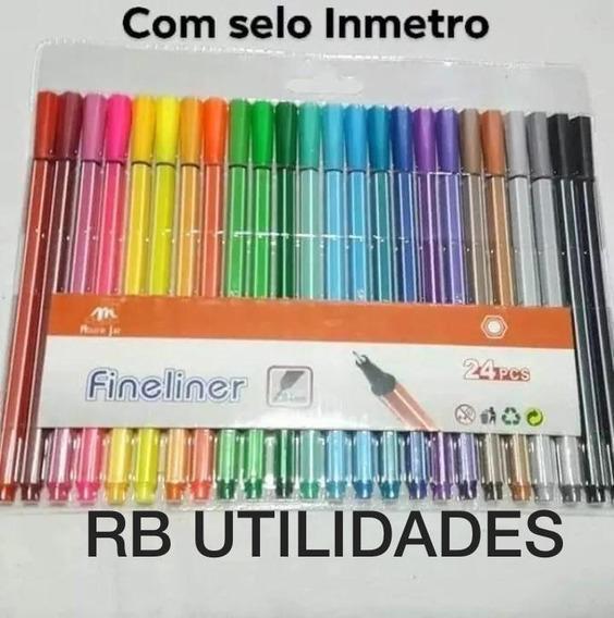 24 Caneta Colorida Ponta Fina 0.4 Cores Promoção