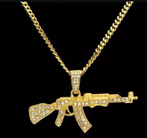 Colar Corrente Arma Policia Ak47 Arma Banhado Ouro Brilhante
