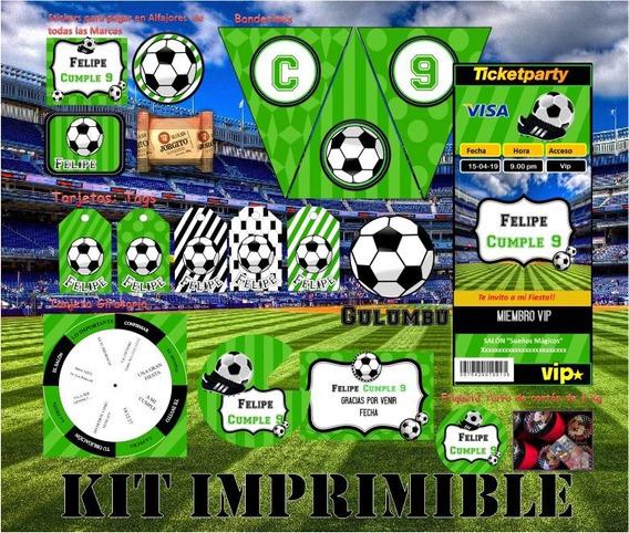 Kit Imprimible Futbol Candy Bar Golosinas Editable 2x1
