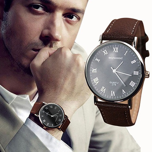 Relógio Dgjud Importado Em Couro Masculino Luxo Marron