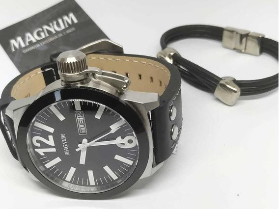 Relógio Magnum Pulseira Em Couro Ma31533c Original Nfe