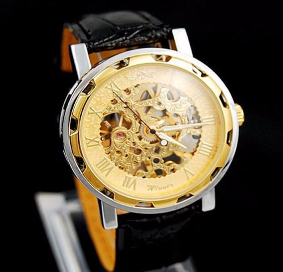 Relógio Winner Automático Barato Promoção Dourado Luxo
