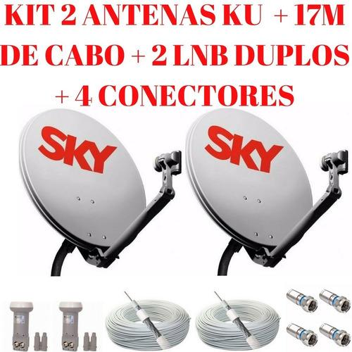 Duas Antenas Kit Ku Satélite 2lnb Duplo Universal,40mts Cabo