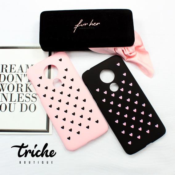 Funda Case Diseño Corazones Dama Negro Rosa Moto G7 Power